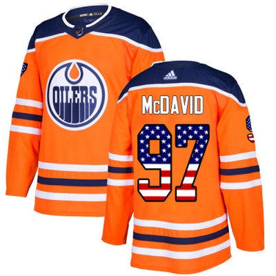 Men's Connor McDavid Edmonton Oilers Adidas USA Flag Fashion Jersey - Authentic Orange