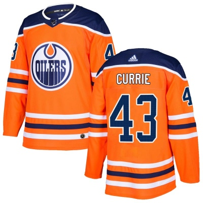 Men's Josh Currie Edmonton Oilers Adidas r Home Jersey - Authentic Orange