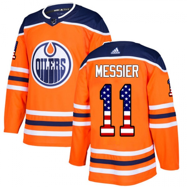 Men's Mark Messier Edmonton Oilers Adidas USA Flag Fashion Jersey - Authentic Orange